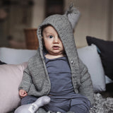 Merino/Cotton Ebbe cardigan - Dark Grey - 3-6m