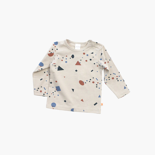 Pima Cotton Geometry Chat LS Tee - Beige - 6m-8y