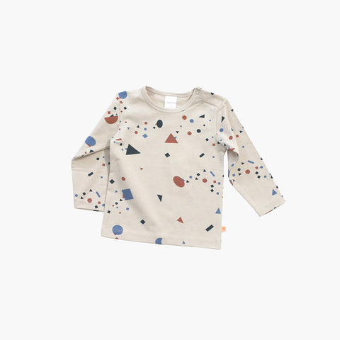Pima Cotton Geometry Chat LS Tee - Beige/colour - 8y