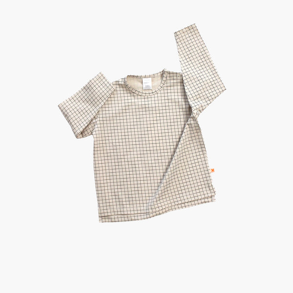 Pima Cotton Medium Grid LS Oversized Tee - Beige - 12m-8y