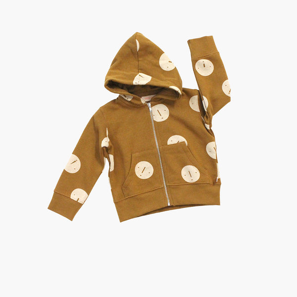Pima Cotton Hooded Faces Sweater - Golden Brown - 2-8y