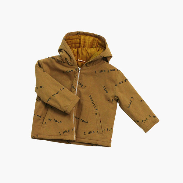 Pima Cotton Woven Many Words Jacket - Golden Brown - 8y