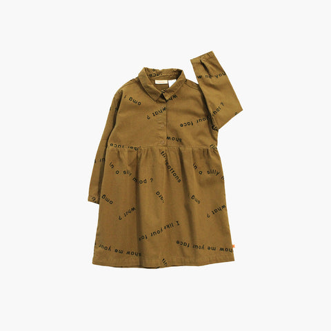 Pima Cotton Woven Many Words Dress - Golden Brown - 2y