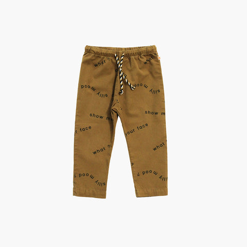 Pima Cotton Woven Many Words Pants - Golden Brown - 12m-6y