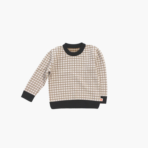 Merino/Cotton Knitted Grid Sweater - Beige - 12m-8y