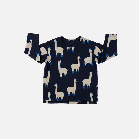 Pima Cotton Relaxed Tee Llama - Navy/Beige- 12m-8y