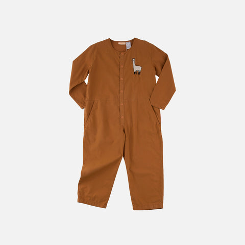Pima Cotton Llama One-Piece - Brown - 2-8y