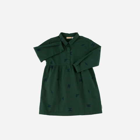 Pima Cotton Folk Element Dress - Dark Green/Dark Navy - 4y