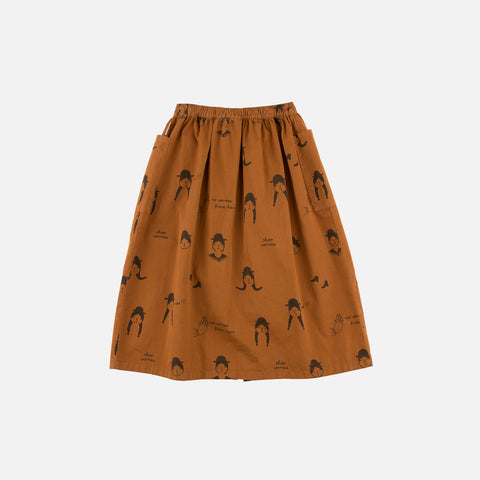 Pima Cotton No-Worry Dolls Button-Down Skirt - Brown/Black - 2-8y