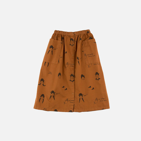 Pima Cotton No-Worry Dolls Button-Down Skirt - Brown/Black - 2y