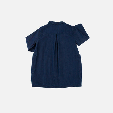 Denim Shirt Dress - Denim Blue - 4-8y