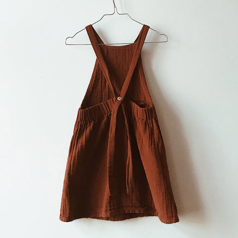 Organic Cotton Muslin Apron Dress - Red Dust