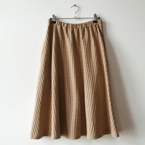 Women's Organic Cotton Parallel Midi Skirt - Dune Stripe