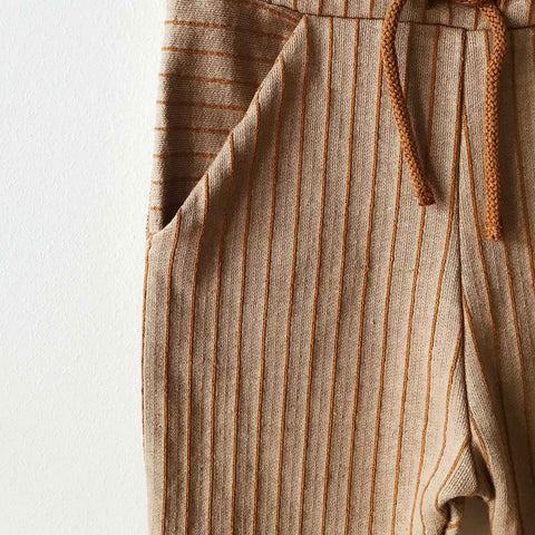Organic Cotton Parallel Pocket Pants - Dune Stripe