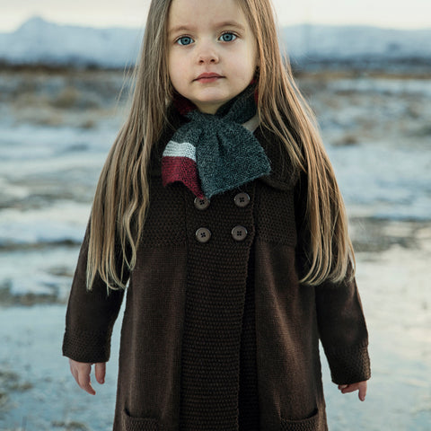 Alpaca Moss Coat - Chocolate - 3-8y