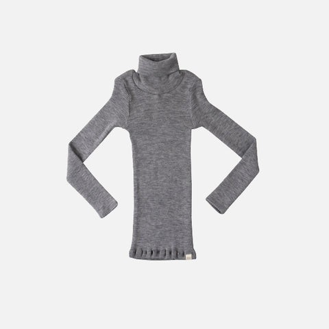 Merino Seamless Polo Neck Rib Top - Grey Melange - 2-3y