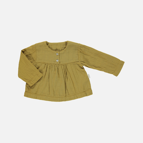 Organic Cotton Gathered Button Blouse - Cassonade - 3m-10y
