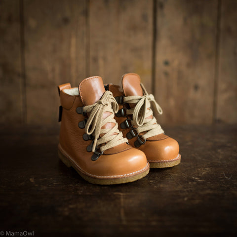 Lace Up w/Zip Toddler Waterproof Leather Boots - Light Cognac