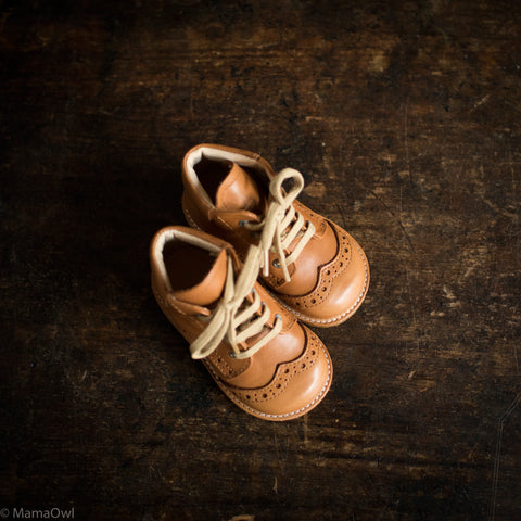 First Toddler Brogue Lace Up Boots - Cognac