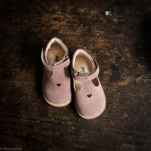 T-Bar Heart Suede Toddler Shoes - Powder