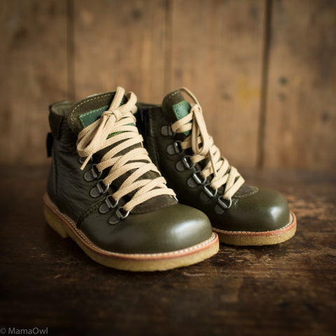 Wool Lined Waterproof Lace Boot w/ Zip - Olive
