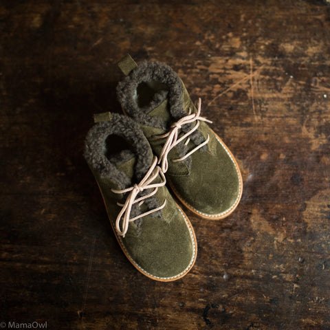 Wool Lined Suede Desert Boots - Olive