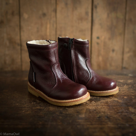 Wool Lined Waterproof Short Leather Boots w/ Zip - Bordeaux
