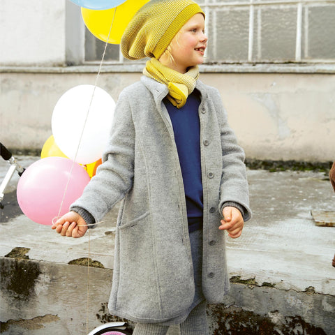 Organic Boiled Wool Kids Coat - Grey - 4-10y