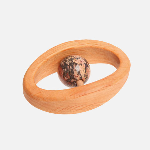 Natural Wood & Semi Precious Stone Rattle - Jasper