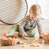 Wooden Nins, Rings & Coins - Natural Wood