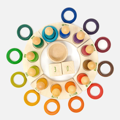 12 Wooden Rings - to use with the perpetual calendar