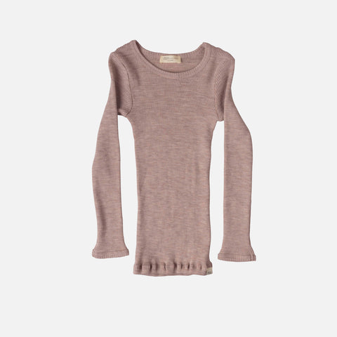Merino Atlantic Seamless Rib Round Neck Top - Dusty Rose - 2-10y