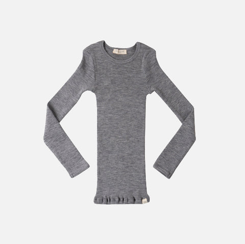 Merino Atlantic Seamless Rib Round Neck Top - Grey Melange - 2-10y