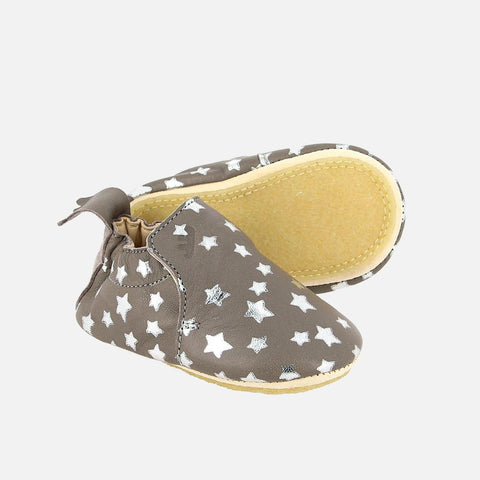 Eco leather slippers -  Blublu hearts - Grey - 0-18m