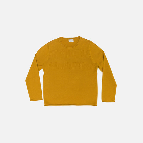 Organic Cotton Blend Sweater Sailor Pattern - Mustard - 3-8y