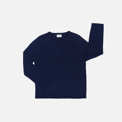 Oragnic Cotton/Merino Sailor Sweater - Navy - 3-8y