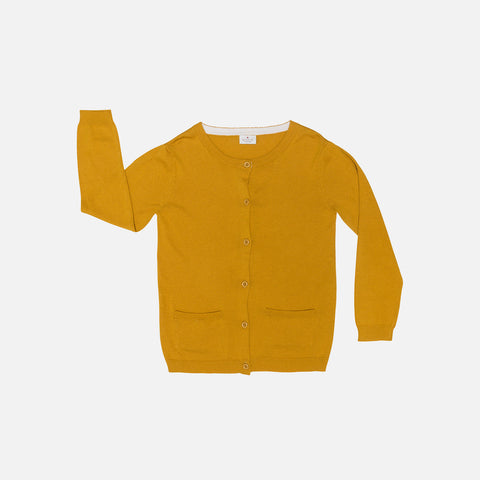 Organic Cotton/Merino Pocket Cardigan - Mustard - 9m-8y