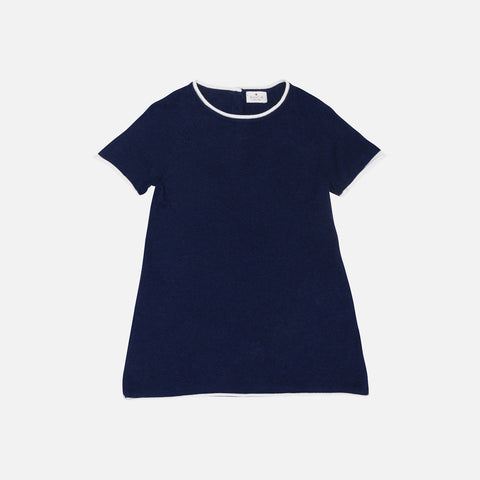 Organic Cotton Blend SS Dress - Navy - 9m-4y