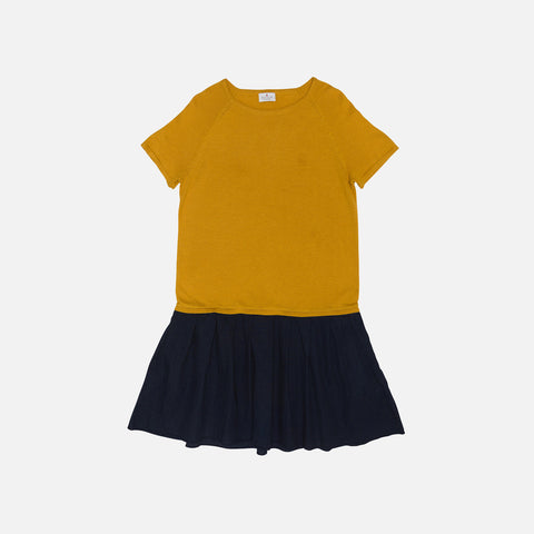 Organic Cotton/Merino Dress Fabric Skirt - Mustard/Navy - 2-8y