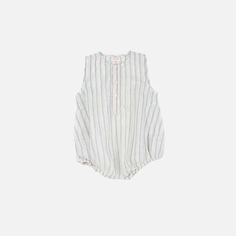 Kumar Cotton Stripe Romper - Ecru - 12m