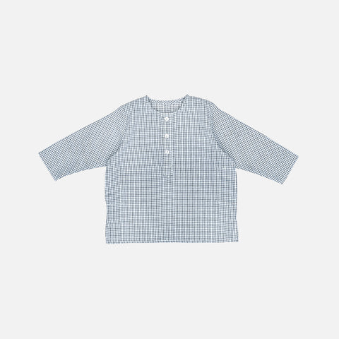 Cotton LS Kurta Babu Shirt Check - Grey/White - 1-3y