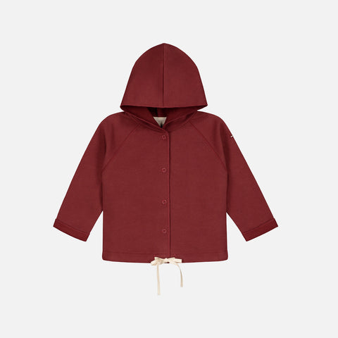 Organic Baby Hooded Cardigan - Burgundy - 0-12m