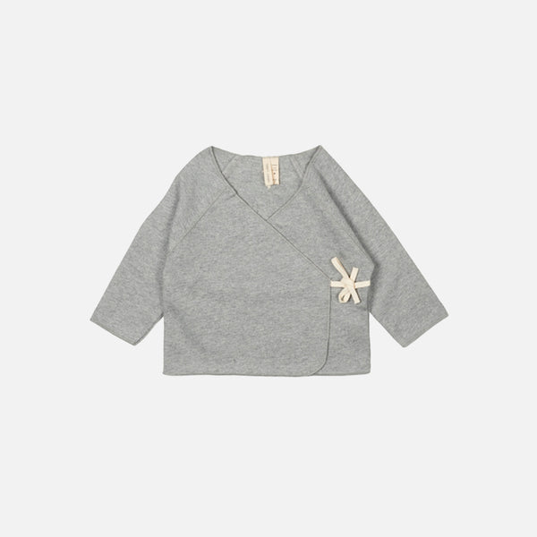 Organic Cross Over Baby Top - Grey Melange - 6-12m