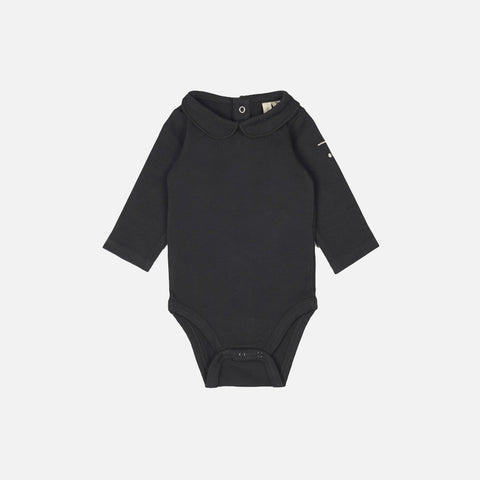 Organic Cotton Collar Body - Almost Black - 0-12m