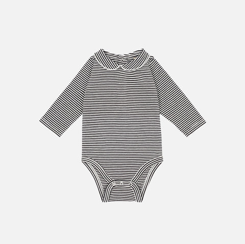 Organic Cotton Collar Body - Almost Black/Off White Stripe - 1-18m