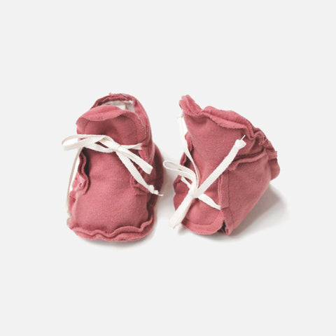 Organic Raw Edged Booties - Blush - 0-12m
