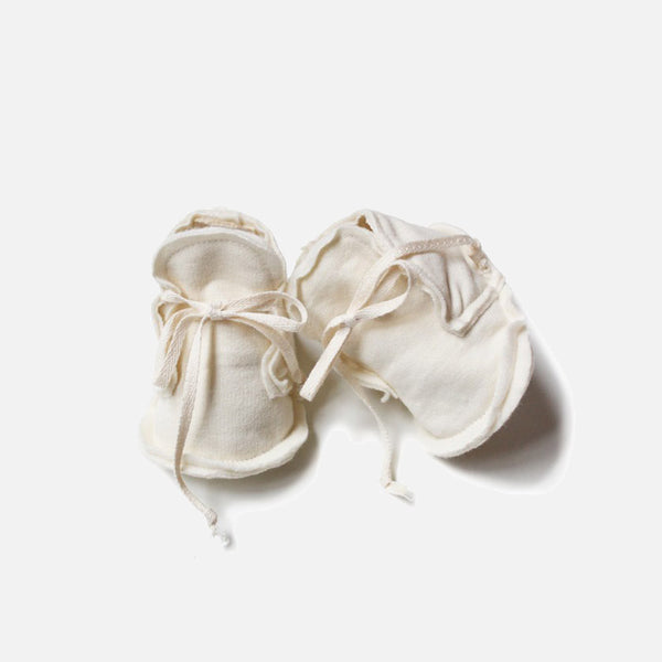 Organic Raw Edged Booties - Cream - 0-1m