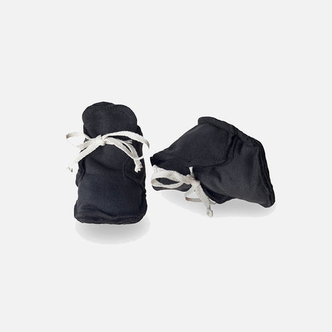Organic Raw Edged Booties - Nearly Black - 0-12m