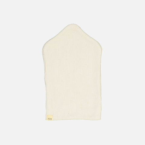 Silk/Cotton Rib Baby Beanie - Cream - 0-6m