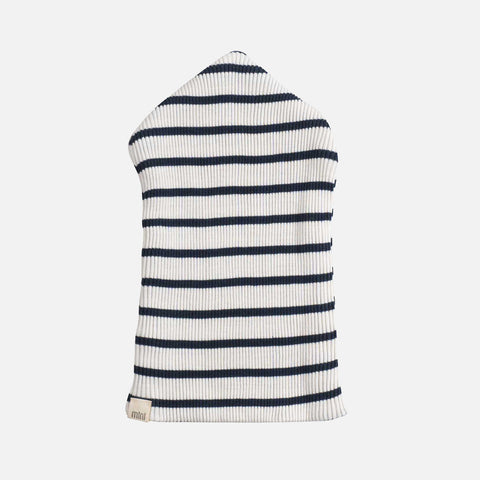 Silk/Cotton Rib Beanie - Navy Stripe - 2-6y